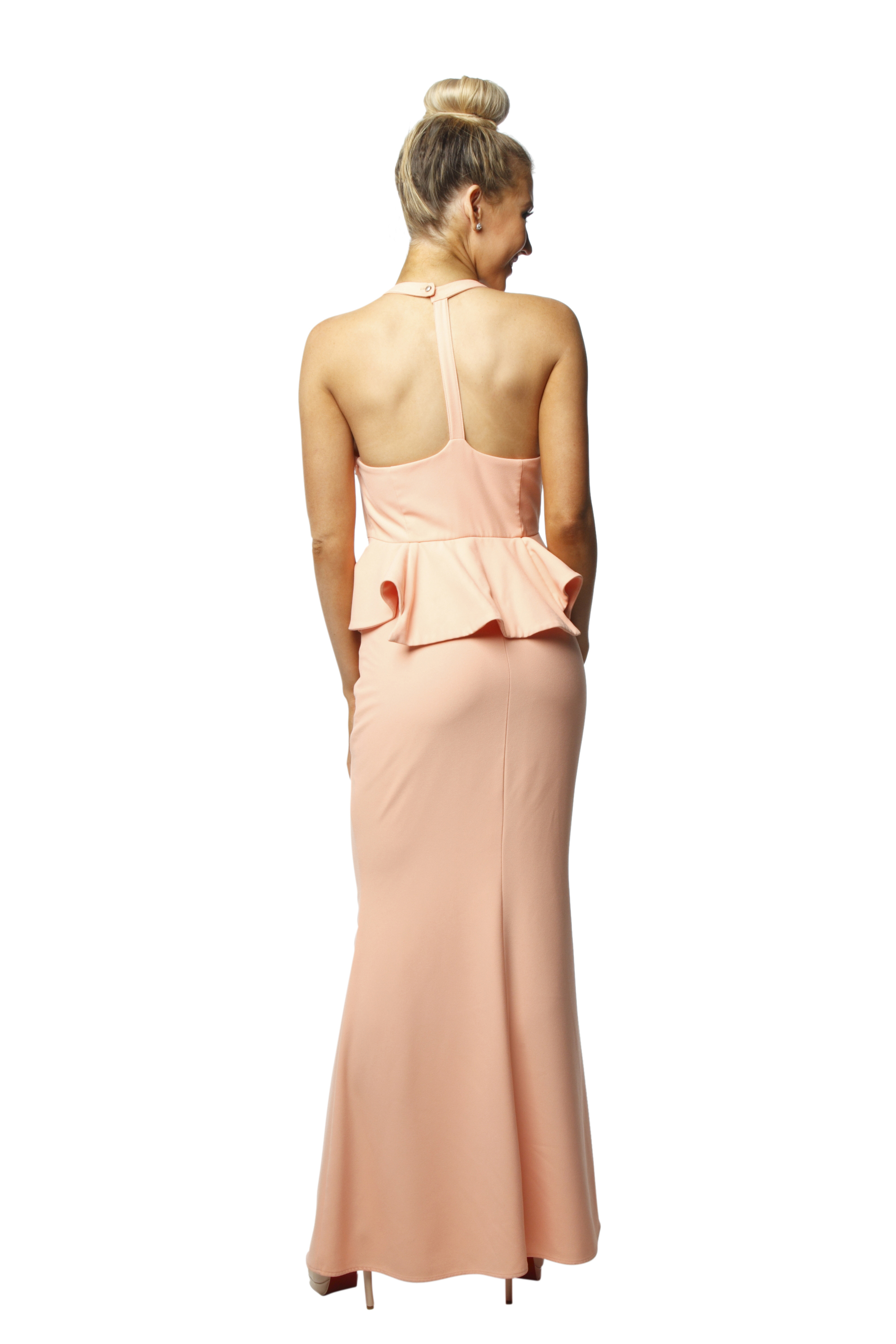 Sheike Coral Peplum Gown Perth Dress Hire My Sisters