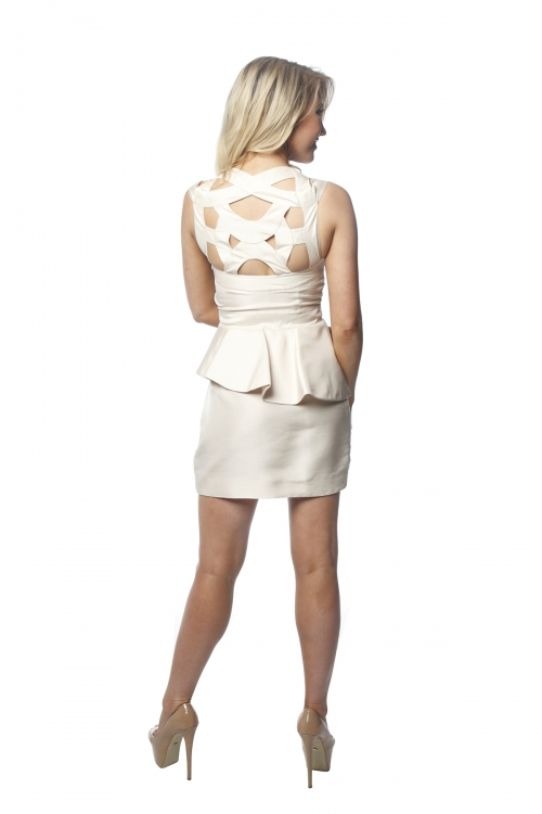 Rachel Gilbert Silk Cream Peplum Dress