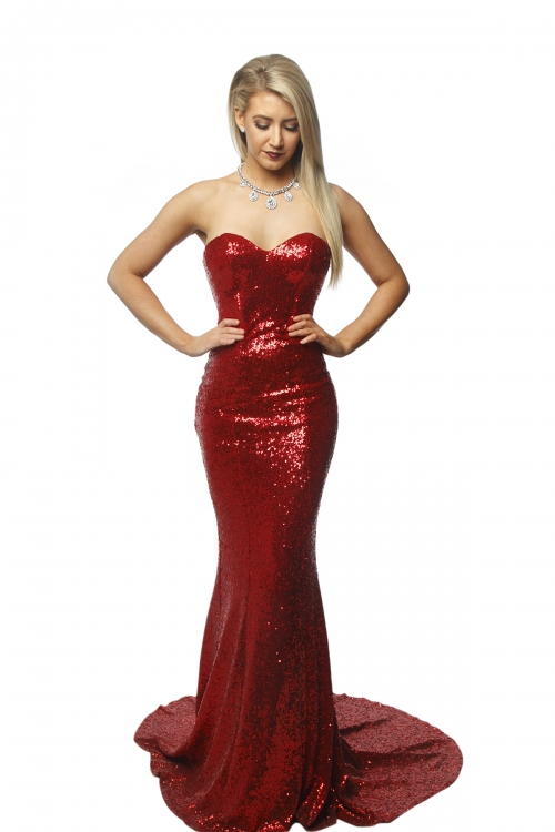P.S Belladonna Red Sequin Gown