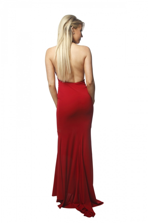 Abbey Red Hi Neck Gown
