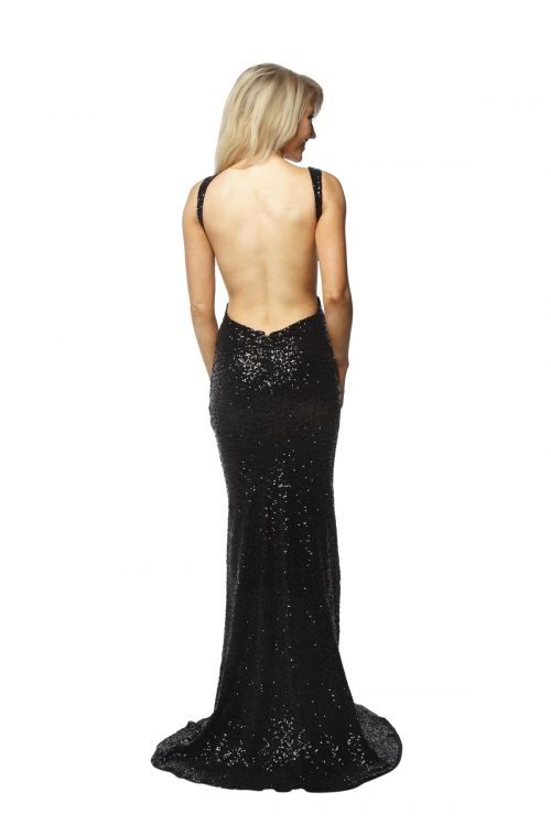 P.S Backless Black Sequin Gown