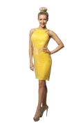 Rachel Gilbert Yellow Beaded Dress