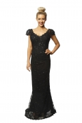 MSB Kim K Cap Sleeve Black Lace Gown